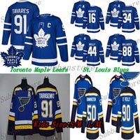 Les enfants (jeunes) St. Louis Blues Maillots Toronto Maple Leafs Hockey Jersey 91 Tarasenko 90 O'Reilly 16 Mitchell Marner