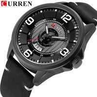 CURREN Fashion Classic Black Business Men Watches Date Quartz Wrist Watch High Quality Leather Strap Clock erkek kol saati