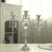 Cristal Candlestick mariage Table Centerpiece Candelabra Dîner Décor Luxueux romantique aux chandelles 35 Silver Lights Bougeoir