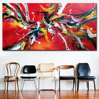 1 Panel Red Line Abstract Art HD Print Abstract Oil Painting...