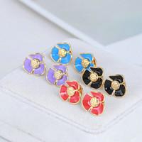 Livraison gratuite 6colors réel plaqué or émail fleur de la marque de mode Hot Sale Boucles d'oreilles
