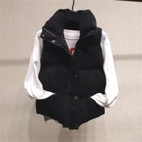 Neue Winter-Damen-Oberbekleidung Solid Color Printed Stehkragen Einreiher Short Damen Weste Damen 2020 Luxusdesignerkleidung