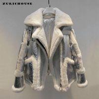 Escudo ZURICHOUSE Diseño europeo de plata de abajo Mujer Invierno 2019 de alta calidad de lana de cordero real empalme caliente abajo Parka Mujer