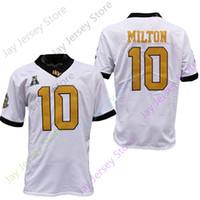 2020 새로운 NCAA UCF 기사 유니폼 10 밀튼 축구 유니폼 대학 블랙 화이트 사이즈 청소년 성인 모든 스티치