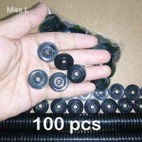 100 pz Diametro 21 mm Apertura 4,6 mm Nero ruota Giocattolo in plastica Treno Veicolo Riparazione Parte Accessori Modello