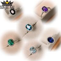 Trendy Marka CZ 925 Srebrny Pierścień Duży Kwadrat Niebo Niebieski Zielony Purpurowy Czarny Kamień Pierścienie Dla Kobiet Biżuteria Pierścieni