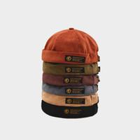 Retro Corduroy Original-Docker Sailor Biker Cap Marke brimless Skullcap Männer und Trend-Hut Herbst Hip-Hop und warm halten Hut