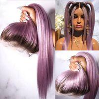 Оммре фиолетовый человеческий парик волос фиолетовый прямой кружевной фронт парик с младенцами волос бразильский ремил прозрачные кружевные парики для женщин
