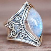Vintage Tibet Silber Big Healing Kristall Ringe Für Frauen Boho Antike Indische Mondstein Ring Edlen Schmuck Mädchen Damen Geschenke
