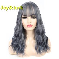 Joy&luck Water Wave Synthetic Wigs for Women Ombre Blue Colo...