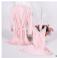 1931 satén de seda atractivo de las mujeres del cordón del kimono Albornoz camisón Conjuntos túnica media manga de la ropa interior pijama de dormir salón femenina Nightwe