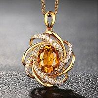 2 ثانية الأحجار الكريمة الصفراء وضوح الشمس السترين الماس القلائد قلادة للنساء لهجة الذهب الهدايا قلادة سلسلة مجوهرات بيجو BAGUE