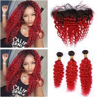 # 1B / Red أومبير موجة عميقة البرازيلي نسج الشعر البشري حزم مع إغلاق أمامي الأحمر أومبير عميق متموجة 13x4 الرباط أمامي مع الشعر ينسج