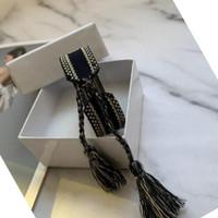 ماركة أزياء والمجوهرات للرجال النساء اليدوية القطن العلاقة التطريز مصمم سوار المنسوجة الإسورة الأقمشة مجوهرات مع مربع أبيض
