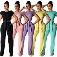 Pure Color Two Piece Outfits Sweet Style Lady O Neck Short S...