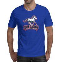 أزياء رجالي فورد موستانج logo الأزرق جولة الرقبة تي شيرت الطباعة الرياضة القمصان الذهب الرمادي