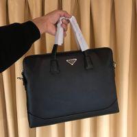 valigette di lusso sacchetto di alta qualità in pelle di grande capacità scomparti doubble uomini uomini del progettista di business bag Nero Alle spalle ba