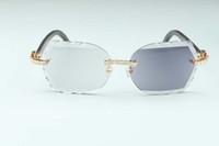 Novo corte de lentes fotocromáticas 8300817-C diamantes óculos de sol chifres híbrido branco e preto natural búfalo pernas multifuncional, 58-18-135mm