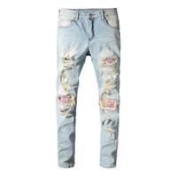 남성용 패치 워크 bandanna paisley biker jeans 프린트 라이트 블루홀 스키니 스트레치 데님 바지 바지