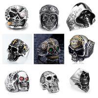 Moda Retro Punk Skull Hombres Vintage Steampunk Aleación Retro Anillos de acero inoxidable Hombre Gótico Hip Hop Skull Hip Hop Ring Dedo