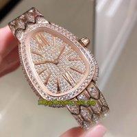 Melhor versão Serpenti Seduttori 103160 Diamantes Dial Quartzo Suíço Movimento Womens Watch Rosa de Ouro 18K diamante para fora congelado completa Ladies Relógios