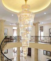 Moderno chalet de araña de cristal salón lámparas pendientes de construcción sencilla hueco del techo planta intermedia luces lujo lámpara de iluminación de largo