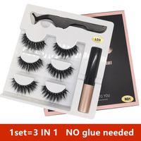 14 styles 3 Pairs Magnetic Eyelashes False Lashes +Liquid Eyeliner +Tweezer eye makeup set 3D magnet False eyelashes No Glue Need free ship