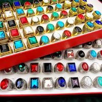 Moda 30pcs / conjunto Gem Pinestone Turquesa Banda Anéis De Metal Grande Vidro Cristal Retro Bohemia Estilo Mistura Prata Dourado Homens e Mulheres Jóias Presente