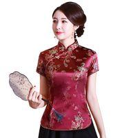 Forma-chinês cheongsam topo tradicional das mulheres chinesas faux seda / cetim Top china dragão e Phoenix blusa chinesa Qipao shirt
