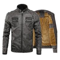 Мужская куртка Теплые кожаные пальто Фитнес-флис Новый воротник стойка Мужская джинсовая куртка Парки из плотного искусственного меха Мужские тонкие пальто M-4XL