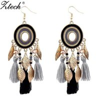 Ztech Bohemia Statement Tassel Earrings 4 Colors Orecchini pendenti per le donne Accessori per gioielli lunghi gioielli con frangiatura