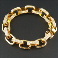 Link, Chain Micro Pave Bracelet For Men Cubic Zircon Iced Out Square Box Link Gold Silver Bling CZ Hip Hop Rapper Jewelry
