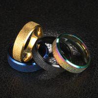 Or / Noir / Argent / arc-en-couleur givré Annulaire pour les bijoux de mariage Homme Femme Acier inoxydable Haut Jamais Fade Taille 6-12