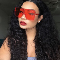 2019 Oversize Square Sunglasses Women New Trendy Flat Top Rosso Blu Clear Lens Vintage Men Gradient Shades UV400