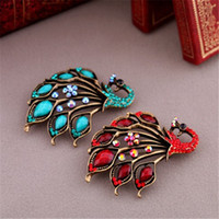 New Fashion Vintage Blue Red GemStone Peacock Pin Brooch For...