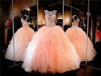 Ball Gown Quinceanera Dresses 2019 High Neckline Keyhole Back Lace up Back Ruffled Organza blush prom Pageant Dress Sexy 16 Dresses