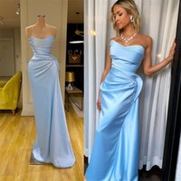 2020 Satin Sheath Evening Dresses Sweetheart Long Ruched Pro...