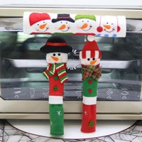 3 unids / set aparato de cocina manija cubre microondas horno refrigerador nevera paño de navidad antideslizante manija cubre envío gratis