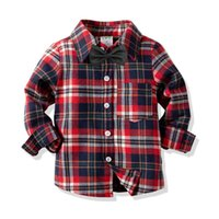 Cute Boys Gentleman Camicie Tees Stripes Plaid Top Candy Vintage Color Primavera Autunno Western Fashion Boys Camicetta