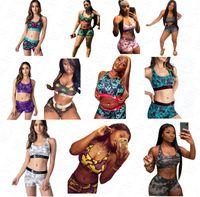 mujeres de la marca de trajes de baño de 2 piezas Bikini set Los juegos del chaleco sin mangas Bras + cortocircuitos de los boxeadores de los calzoncillos traje de baño de la playa de natación Playsuit Tankinis D61704