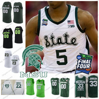 Maglia da basket personalizzata 2019 Michigan State Spartans Qualsiasi nome Numero 5 Cassius Winston 20 Matt McQuaid 2019 Final Four MSU S-4XL