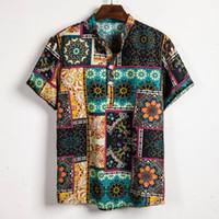 Vintage Ethnic Style Men Shirt Printing Loose Cotton Short Sleep Stand Collar Breathable Tops Hawaiian Shirts