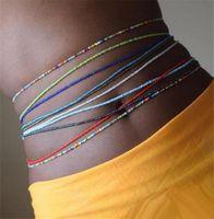 بوهو tredny المرأة الملونة الأرز الخرز الخصر سلسلة الصيف شاطئ الأزياء الجسم مجوهرات مثير سلاسل البطن الملحقات