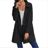 Botones de la mujer con capucha francesa Soild del color Lluvia Chaqueta ocasional de la capa de cuello de solapa Tops Outwear Damas Nueva manera del invierno caliente Escudo