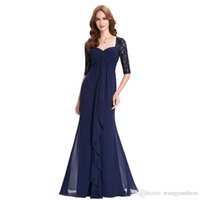 2018 wangyandress navy blue lace mermaid mother of the bride dresses custom floor length chiffon mother's dresses formal evening gowns