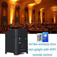 6PCS حرية PAR 4x18w اللاسلكية البطارية DMX RGBWA UV 6in1 أضواء WIFI التحكم عن بعد الذكية شقة LED PAR DJ Uplightings