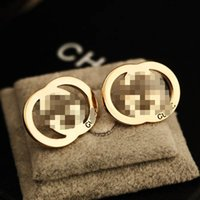 Wholesale Hollow Brand Letters Ear Studs Gold Silver Letters...