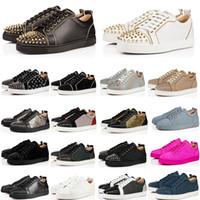 2010 Designer de Luxo sapatos vermelhos Fundo de couro genuíno Sneakers Top Quality Preto calçados casuais Tamanho 35-48 Com Box