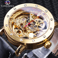 Forsining Luxury Golden Skeleton Watches Black Genuine Leather Openwork Clock Waterproof Mens Automatic Watches Top