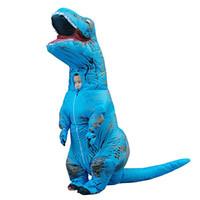T-Rex Dinozor Şişme Kostüm Cadılar Bayramı Blow up Suit Mavi Maskot Kostüm Çocuklar için